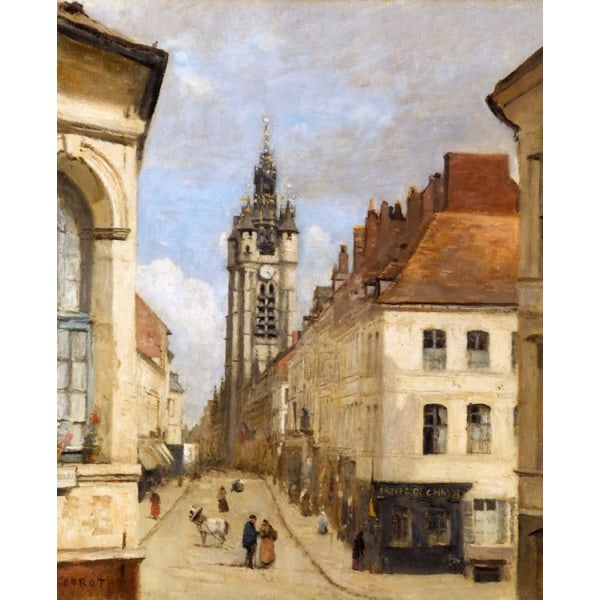 The bell tower of Doual,Corot Camille,50x40cm Brun