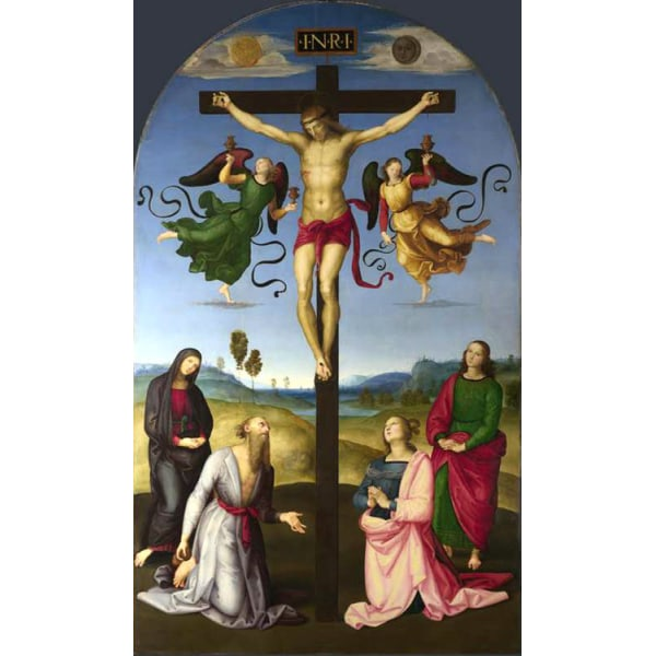 The Crucified Christ with the Virgin Mary,Saints,Raphael,60x36cm Brun