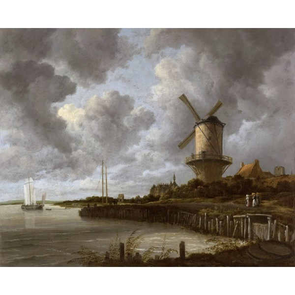 The mill by District by Duurstede,Jacob van Ruisdael,50x40cm Brun