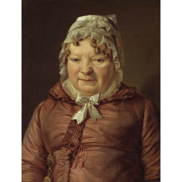The Mother of Captain von,Ferdinand Georg Waldmuller,50x38cm Brun