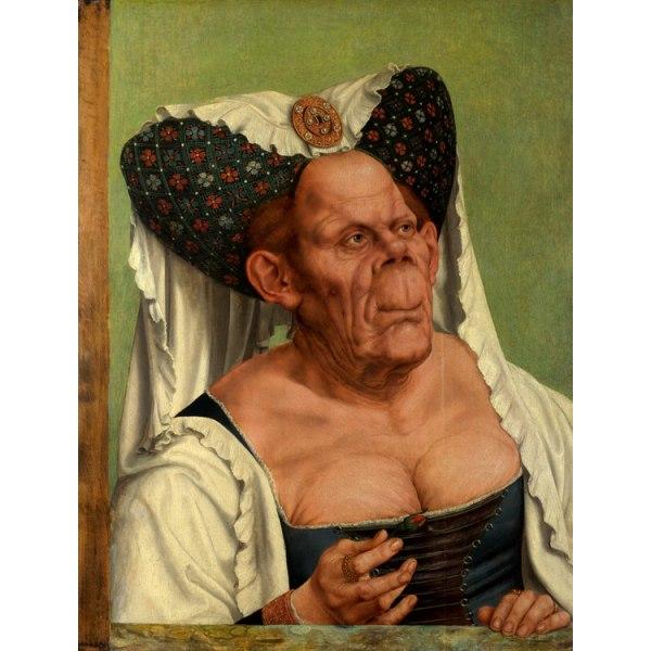 The Ugly Duchess,Quentin Massys,50x38cm Brun