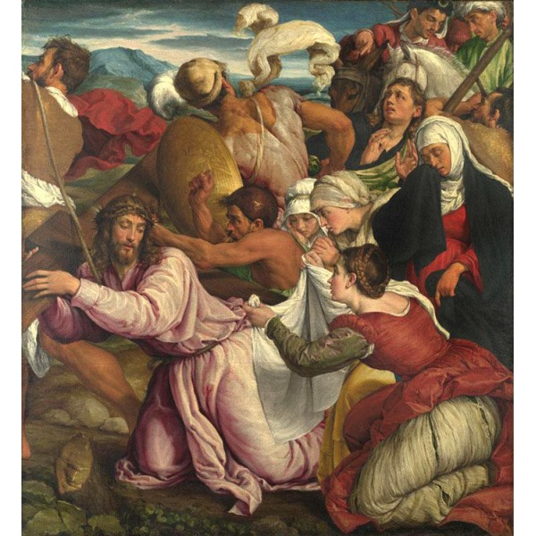 The Way to Calvary,Jacopo Bassano,50x46cm Brun