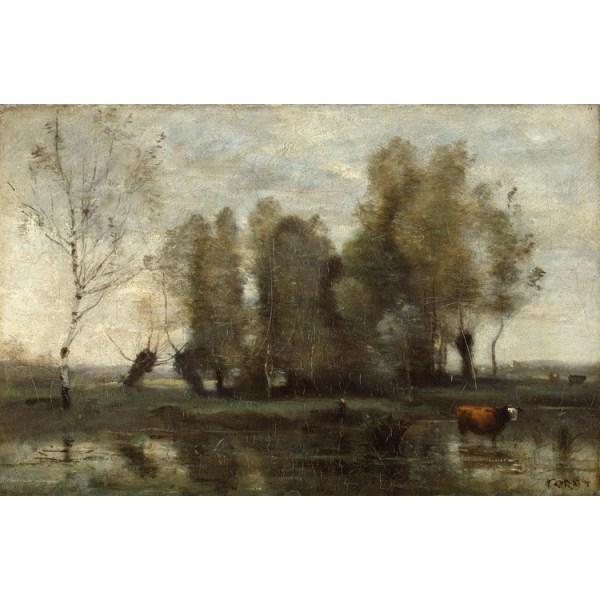 Trees amidst the Marsh,Jean Baptiste Camille Corot,60x40cm Brun