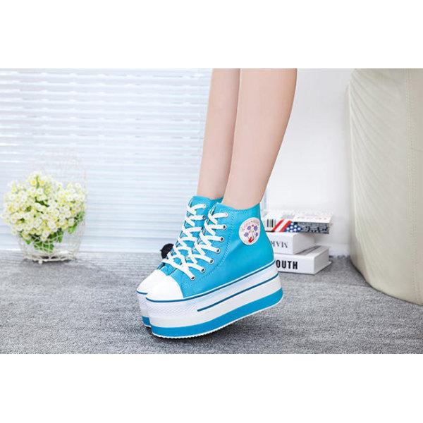 Turkosa sneaker med 7 cm höga sulor Blue 35