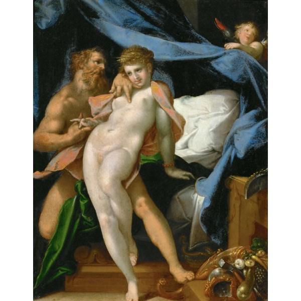 Vulcanus and Maia,Bartholomeus Spranger,50x40cm Brun