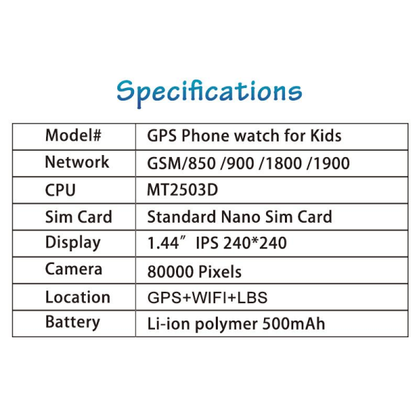 2G Smartwatch med GPS- och SOS-funktion - Blå Blue
