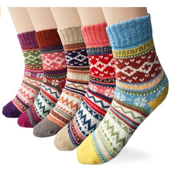 5-p stickade vinterstrumpor för kvinnor, one size