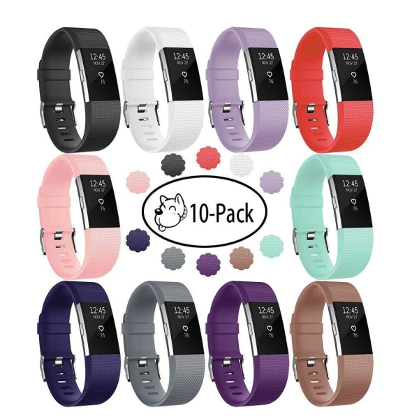 Fitbit Charge 2 armband 10-pack Flera färger (S) Svart