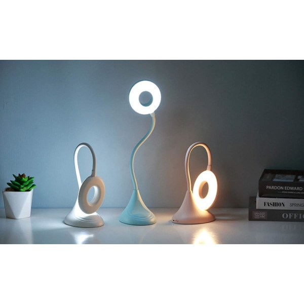 Böjbar LED bordslampa med mobilställ och dimmer Vit