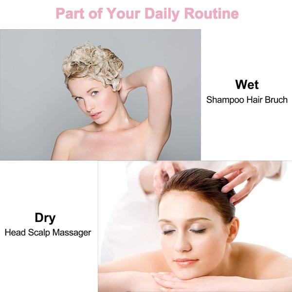 Borste för massage och peeling av hårbotten Rosa