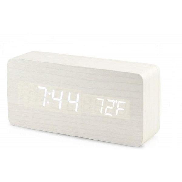 Digital LED väckarklocka - ljusgrå/vit Vit