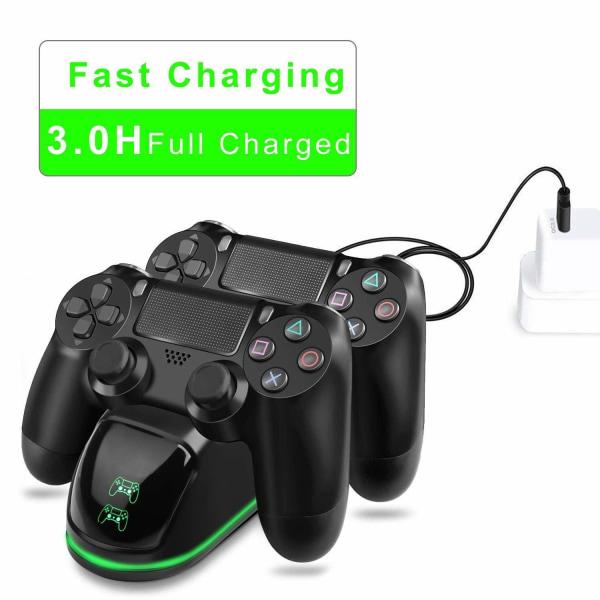 Dubbel laddstation för två kontroller - PS4/PS4 Slim/PS4 Pro Svart