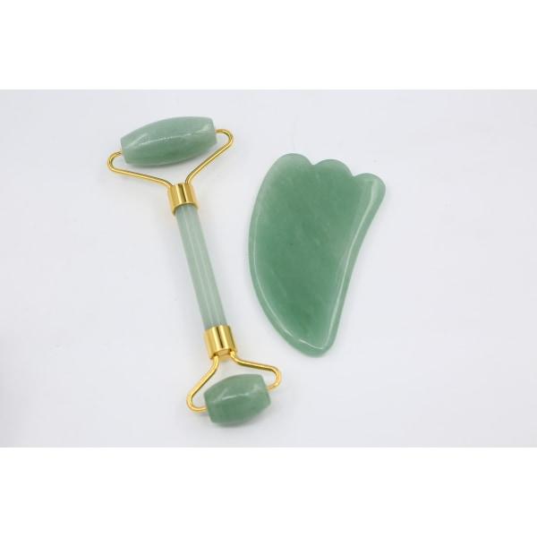 Dubbelhövdad massageroller för ansikte & nacke Ljusgrön Jade
