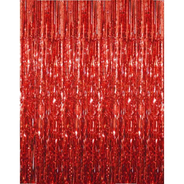 Festlig glittergardin 1x2 meter - Röd