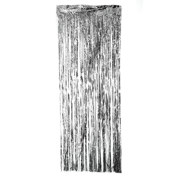 Festlig glittergardin i silver 1x2 meter