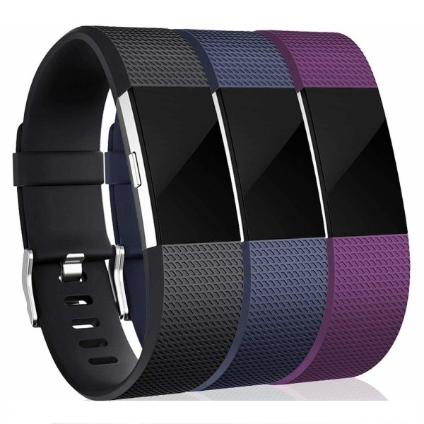 Fitbit Charge 2 armband 3-pack Svart/Blå/Lila (S)