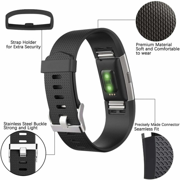 Fitbit Charge 2 armband 3-pack Svart/Grå/Vit (S)