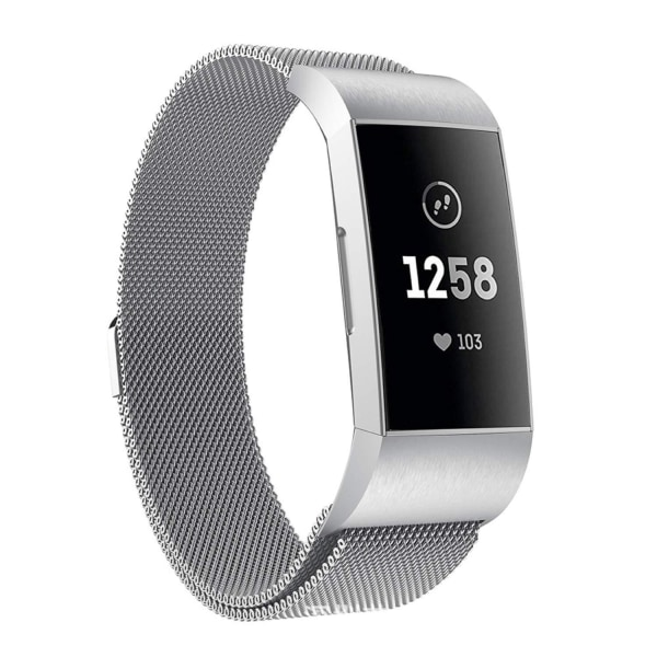Fitbit Charge 3/4 armband Milanesisk loop Silver (S) Silver