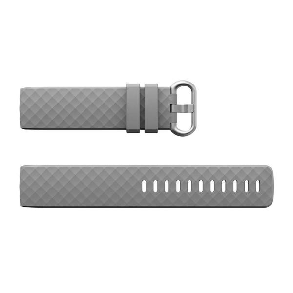 Fitbit Charge 3/4 armband silikon Grå/Silver (S) grå S