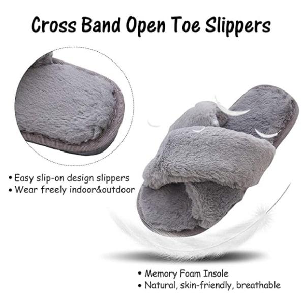 Fluffiga slippers för inomhusbruk Grå (36-37)