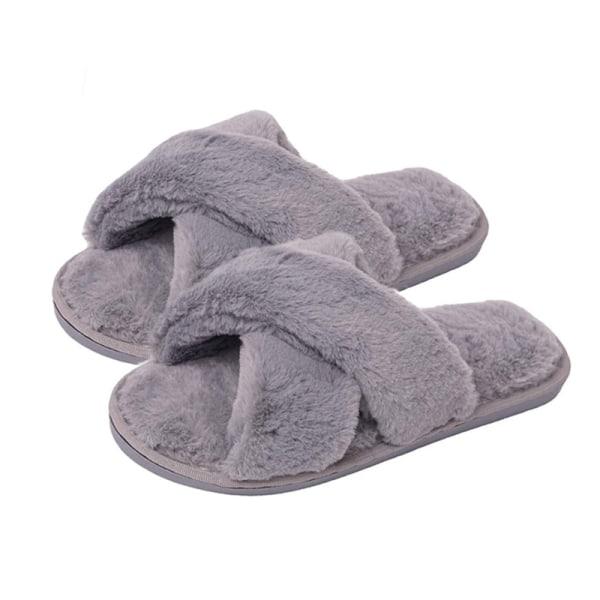 Fluffiga slippers för inomhusbruk Grå (38-39)