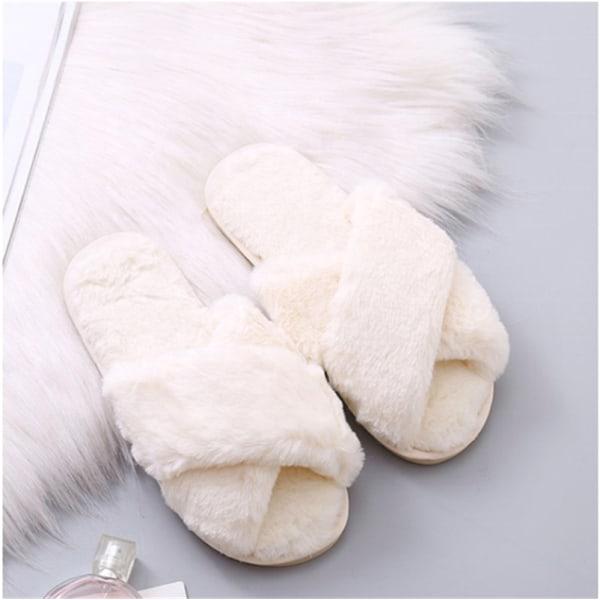 Fluffiga slippers för inomhusbruk Vit (36-37)