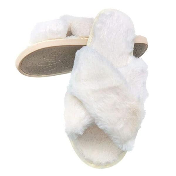 Fluffiga slippers för inomhusbruk Vit (38-39)