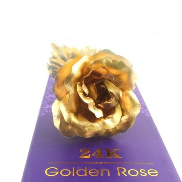 24k Guldros, guldpläterad evighetsros, blomma 24 karat guld för  Guld