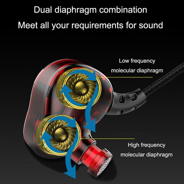 In-ear-hörlurar 3.5 mm med volymkontroll - Grå/röd