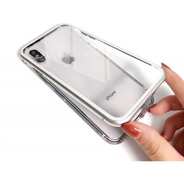 iPhone X/XS magnetskal med härdat glas skärmskydd - silver Silver