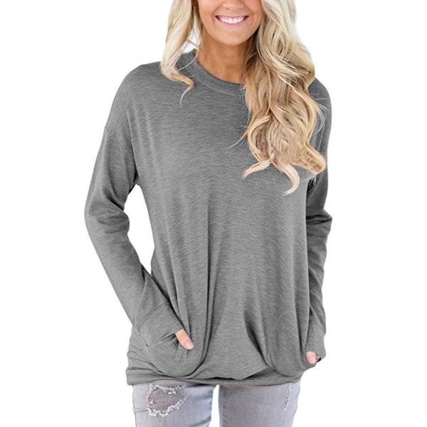 Långärmad tröja med fickor Grå (XXL)