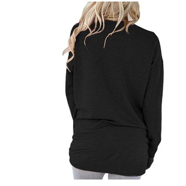 Långärmad tröja med fickor Svart (XXL)