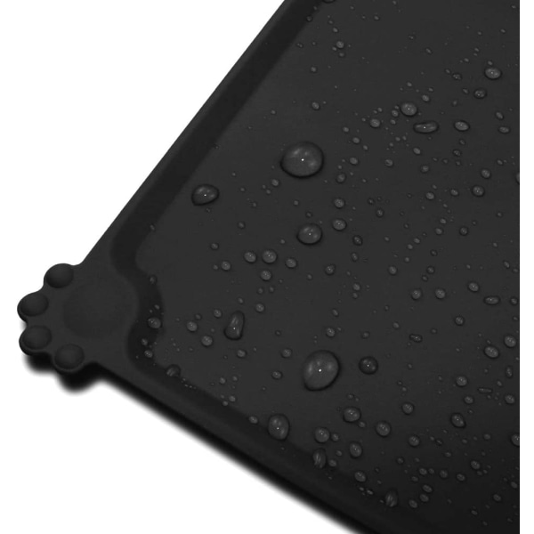 Matskålsunderlägg av silikon för husdjur - svart