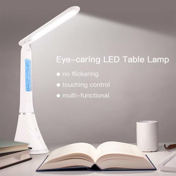 Multifunktions LED bordslampa med display och dimmer White