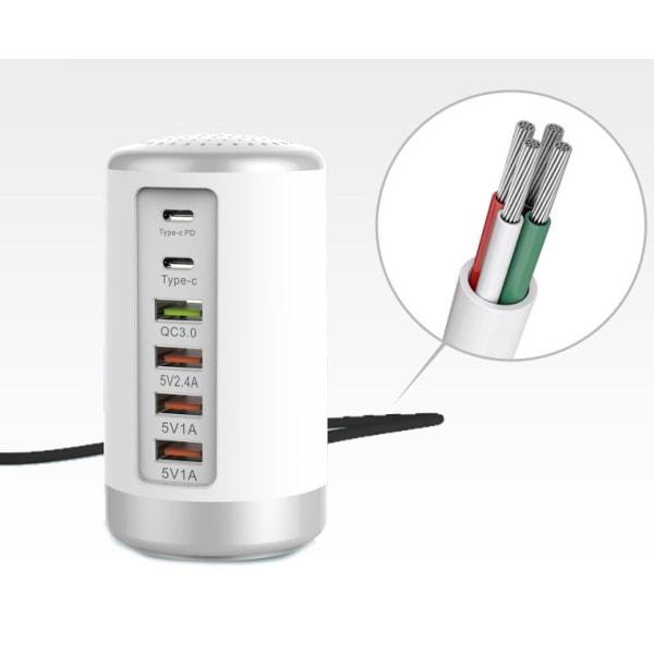 Multiladdare USB 65W snabbladdare - Vit/silver
