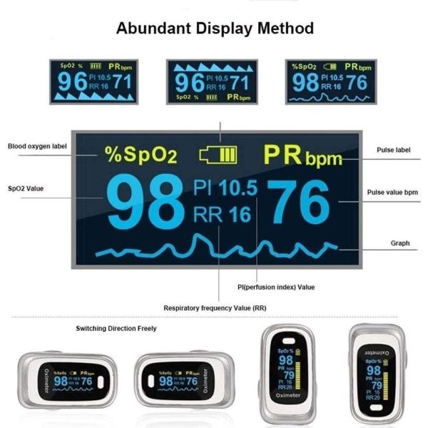 Pulsoximeter - mäter syresättning och puls via finger - vit/silv White