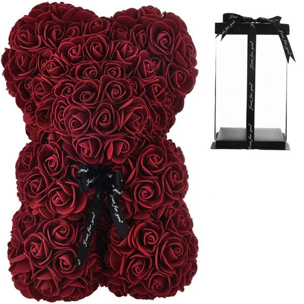 Rosbjörn - nalle täckt av rosor Röd
