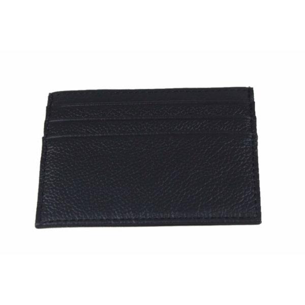 Slimmad korthållare / ID-ficka i äkta läder - svart