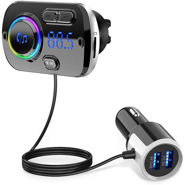 Trådlös FM-sändare för bilen, Bluetooth 5.0 - Svart