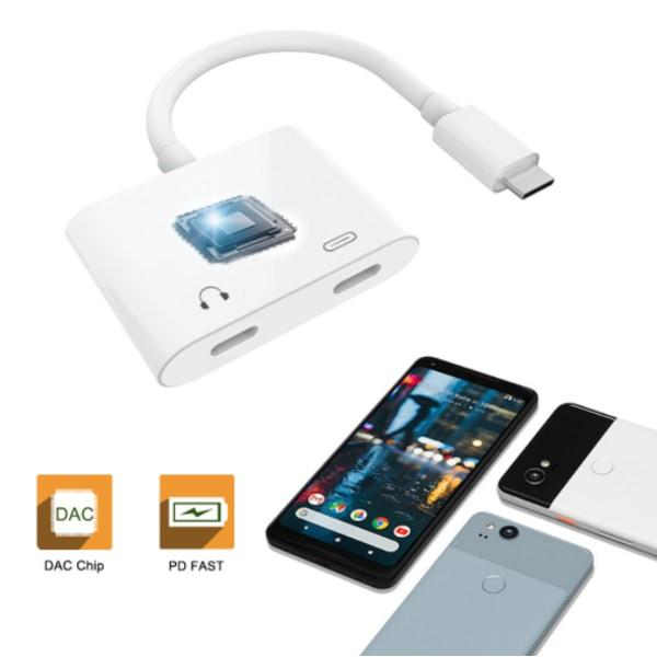 USB-C 2-i-1 Audio Adapter och laddare