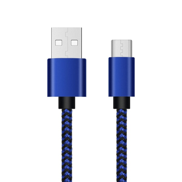 USB-C flätad laddningskabel 3m  Blå