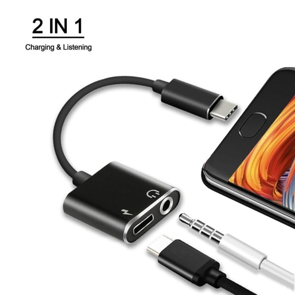 USB-C till 3,5 mm Audio Adapter och USB-C-laddare 2-in-1 Svart