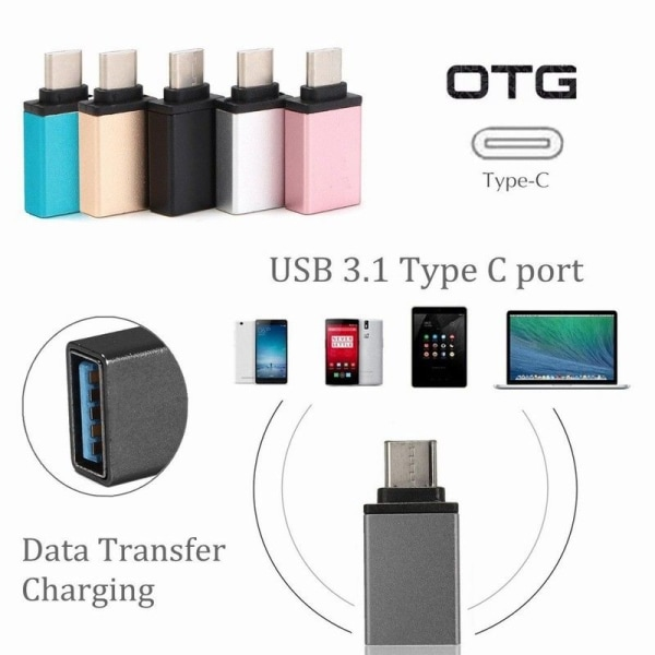 USB till USB-C 3.1 OTG adapter svart