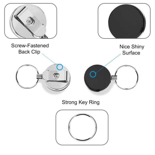 Utdragbar nyckelring med jojo-funktion och snöre 62 cm