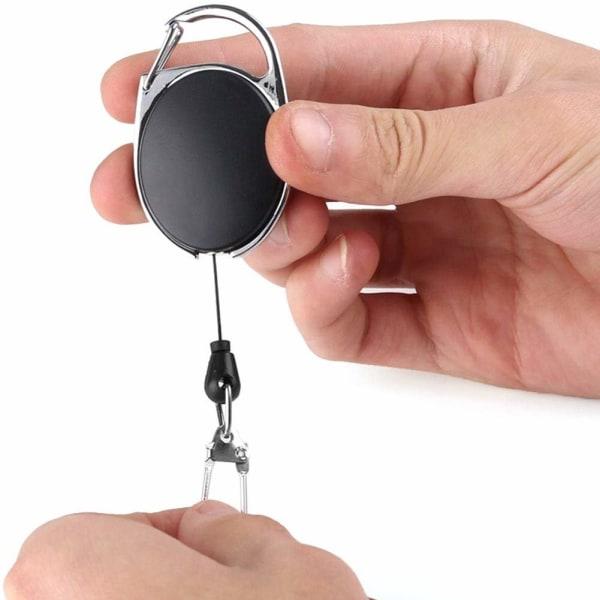 Utdragbar nyckelring med jojo-funktion och snöre 72 cm