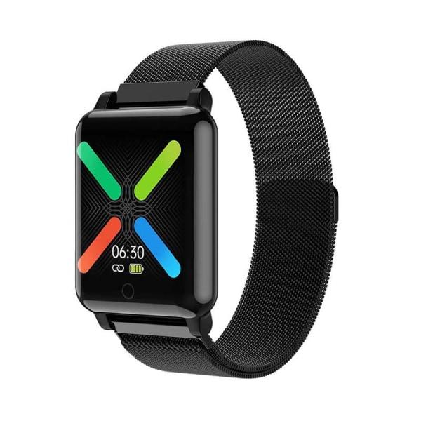 Vattentålig smartwatch med metallarmband - Svart OceanBlue