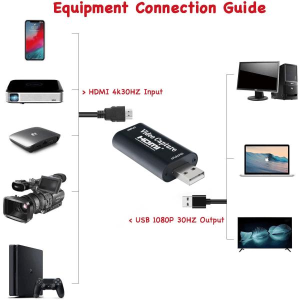 Videoinspelare 1080p HD USB2.0 HDMI - Svart