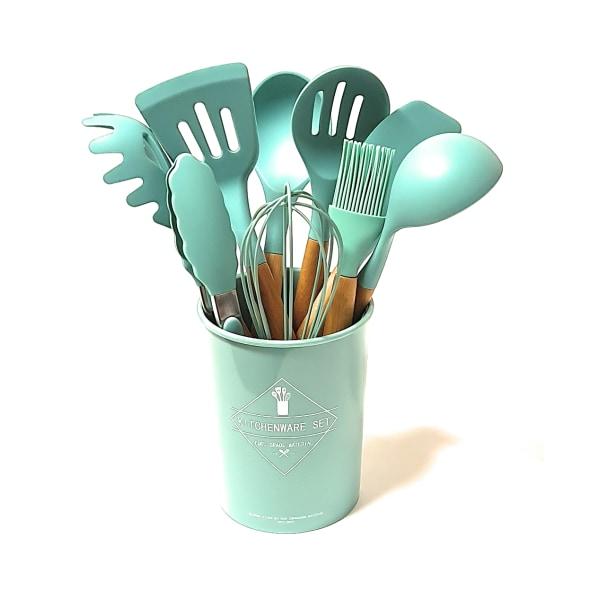 Silikon matlagningsredskap 10 delar grön