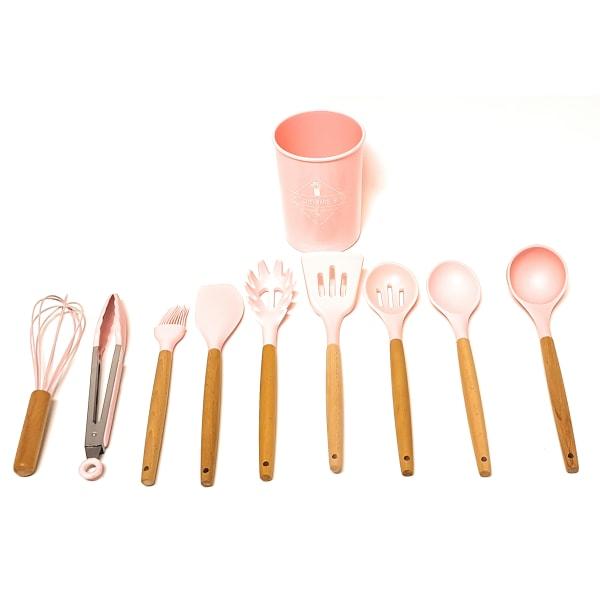 Silikon matlagningsredskap 10 delar rosa