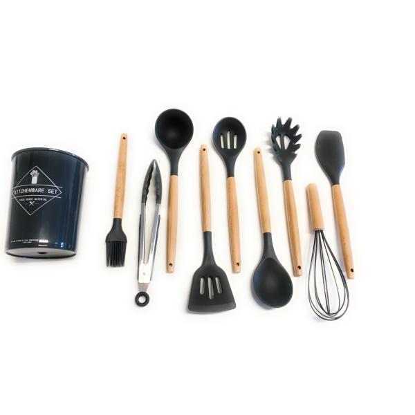 Köksset 10 delar silikon matlagningsredskap Svart svart